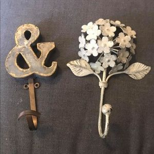 Ampersand and Hydrangea Metal Hooks